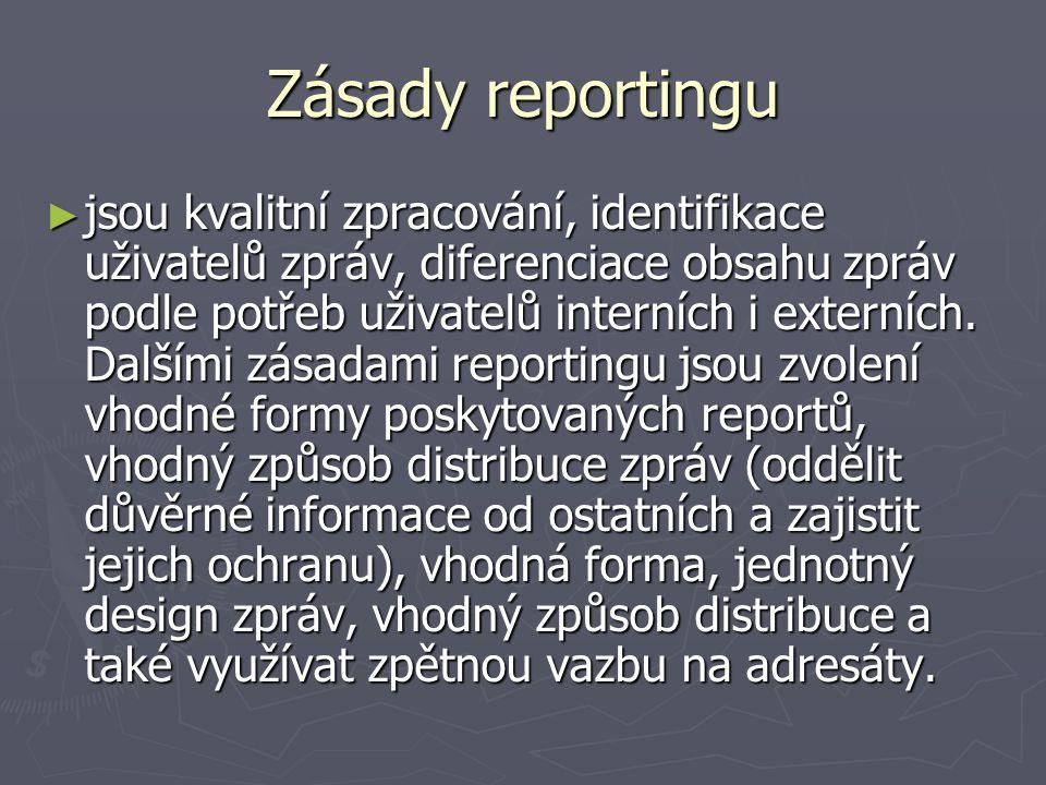 Zásady reportingu ► jsou kvalitní zpracování, identifikace uživatelů zpráv, diferenciace obsahu zpráv podle potřeb uživatelů interních i externích. Da