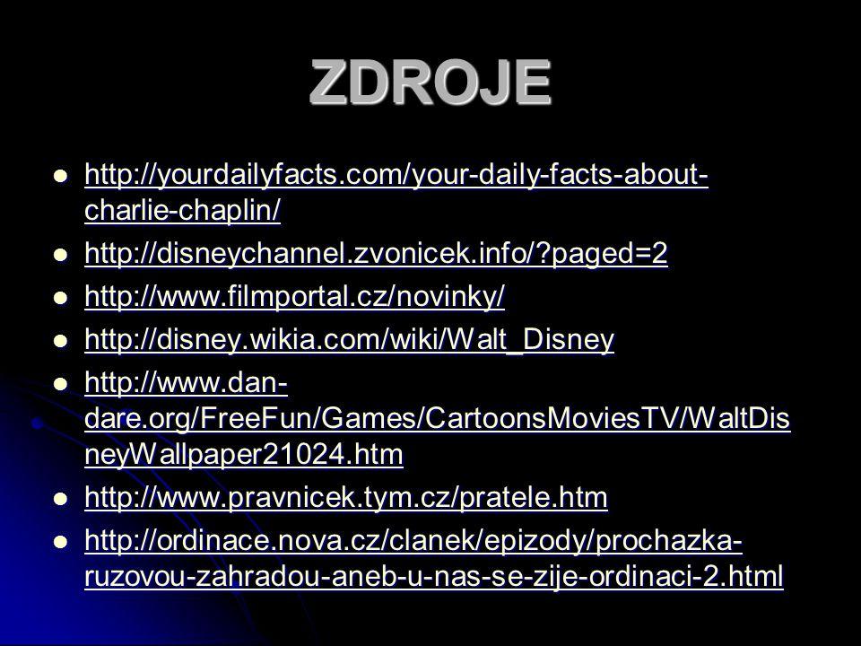 ZDROJE http://yourdailyfacts.com/your-daily-facts-about- charlie-chaplin/ http://yourdailyfacts.com/your-daily-facts-about- charlie-chaplin/ http://yourdailyfacts.com/your-daily-facts-about- charlie-chaplin/ http://yourdailyfacts.com/your-daily-facts-about- charlie-chaplin/ http://disneychannel.zvonicek.info/?paged=2 http://disneychannel.zvonicek.info/?paged=2 http://disneychannel.zvonicek.info/?paged=2 http://www.filmportal.cz/novinky/ http://www.filmportal.cz/novinky/ http://www.filmportal.cz/novinky/ http://disney.wikia.com/wiki/Walt_Disney http://disney.wikia.com/wiki/Walt_Disney http://disney.wikia.com/wiki/Walt_Disney http://www.dan- dare.org/FreeFun/Games/CartoonsMoviesTV/WaltDis neyWallpaper21024.htm http://www.dan- dare.org/FreeFun/Games/CartoonsMoviesTV/WaltDis neyWallpaper21024.htm http://www.dan- dare.org/FreeFun/Games/CartoonsMoviesTV/WaltDis neyWallpaper21024.htm http://www.dan- dare.org/FreeFun/Games/CartoonsMoviesTV/WaltDis neyWallpaper21024.htm http://www.pravnicek.tym.cz/pratele.htm http://www.pravnicek.tym.cz/pratele.htm http://www.pravnicek.tym.cz/pratele.htm http://ordinace.nova.cz/clanek/epizody/prochazka- ruzovou-zahradou-aneb-u-nas-se-zije-ordinaci-2.html http://ordinace.nova.cz/clanek/epizody/prochazka- ruzovou-zahradou-aneb-u-nas-se-zije-ordinaci-2.html http://ordinace.nova.cz/clanek/epizody/prochazka- ruzovou-zahradou-aneb-u-nas-se-zije-ordinaci-2.html http://ordinace.nova.cz/clanek/epizody/prochazka- ruzovou-zahradou-aneb-u-nas-se-zije-ordinaci-2.html