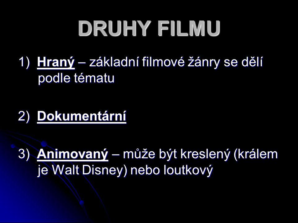 DRUHY FILMU 1) Hraný – základní filmové žánry se dělí podle tématu 2) Dokumentární 3) Animovaný – může být kreslený (králem je Walt Disney) nebo loutk