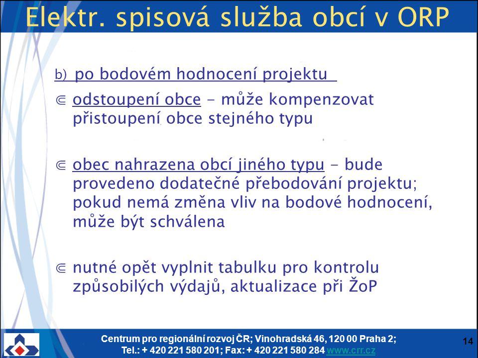 Centrum pro regionální rozvoj ČR; Vinohradská 46, 120 00 Praha 2; Tel.: + 420 221 580 201; Fax: + 420 221 580 284 www.crr.czwww.crr.cz 14 Elektr.
