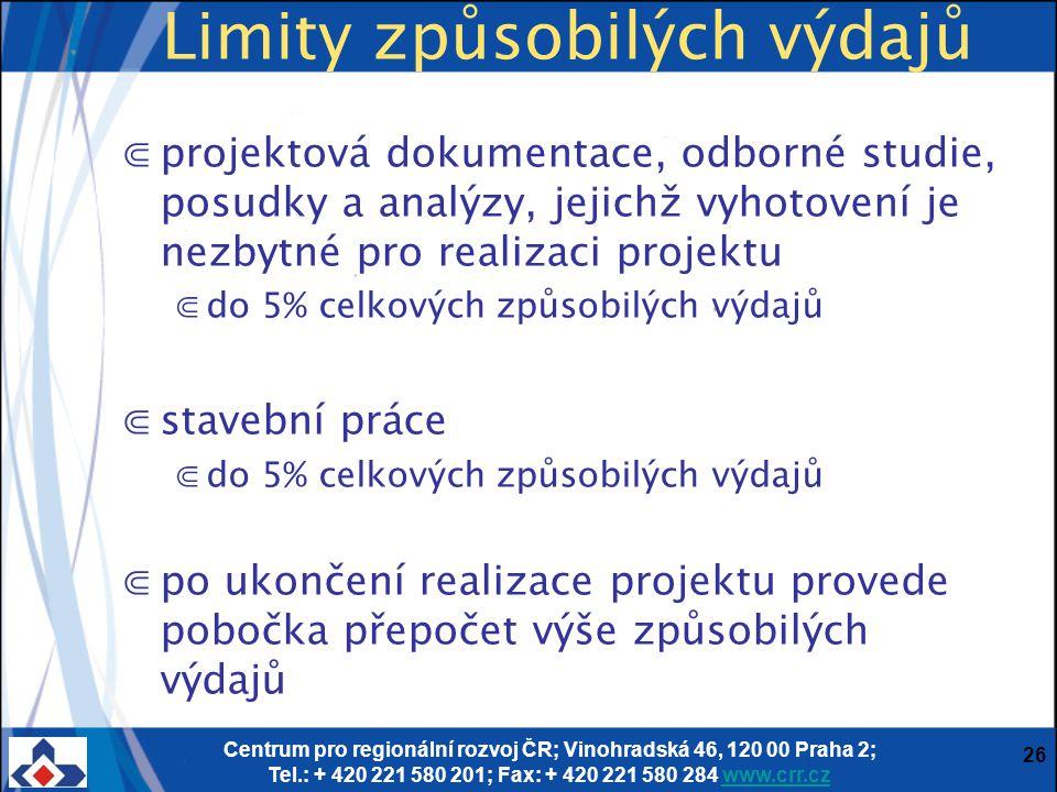 Centrum pro regionální rozvoj ČR; Vinohradská 46, 120 00 Praha 2; Tel.: + 420 221 580 201; Fax: + 420 221 580 284 www.crr.czwww.crr.cz 26 Limity způsobilých výdajů ⋐projektová dokumentace, odborné studie, posudky a analýzy, jejichž vyhotovení je nezbytné pro realizaci projektu ⋐do 5% celkových způsobilých výdajů ⋐stavební práce ⋐do 5% celkových způsobilých výdajů ⋐po ukončení realizace projektu provede pobočka přepočet výše způsobilých výdajů