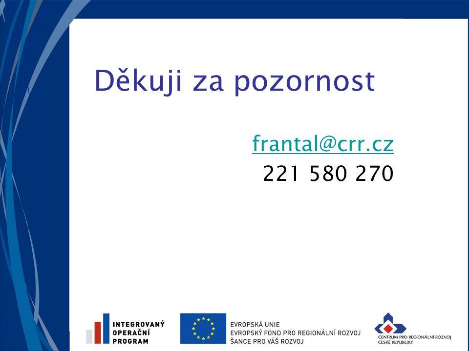 Děkuji za pozornost frantal@crr.cz 221 580 270