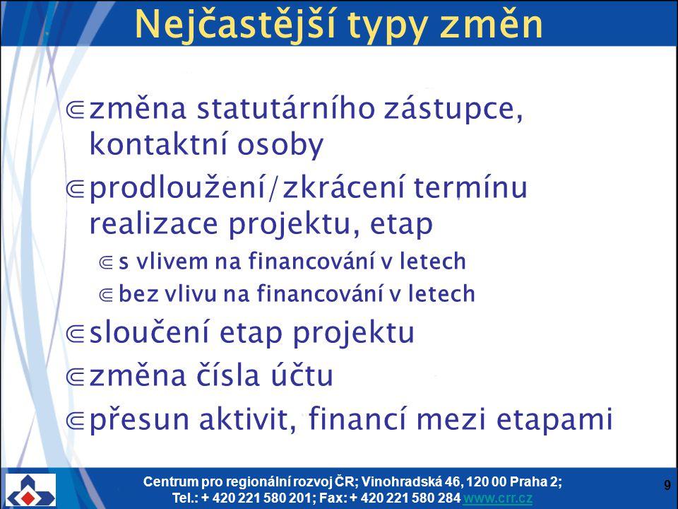 Centrum pro regionální rozvoj ČR; Vinohradská 46, 120 00 Praha 2; Tel.: + 420 221 580 201; Fax: + 420 221 580 284 www.crr.czwww.crr.cz 10 Příloha č.