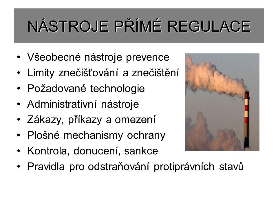 NÁSTROJE PŘÍMÉ REGULACE Všeobecné nástroje prevence Limity znečišťování a znečištění Požadované technologie Administrativní nástroje Zákazy, příkazy a