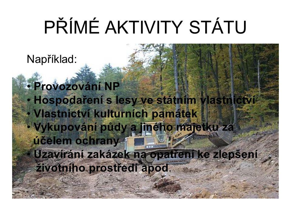 PŘÍMÉ AKTIVITY STÁTU Například: Provozování NP Hospodaření s lesy ve státním vlastnictví Vlastnictví kulturních památek Vykupování půdy a jiného majet