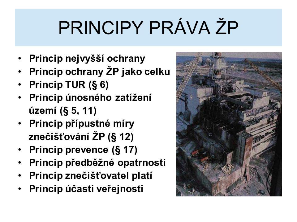 PRINCIPY PRÁVA ŽP Princip nejvyšší ochrany Princip ochrany ŽP jako celku Princip TUR (§ 6) Princip únosného zatížení území (§ 5, 11) Princip přípustné