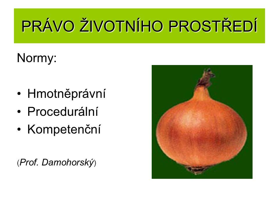 PRÁVO ŽIVOTNÍHO PROSTŘEDÍ Normy: Hmotněprávní Procedurální Kompetenční ( Prof. Damohorský )