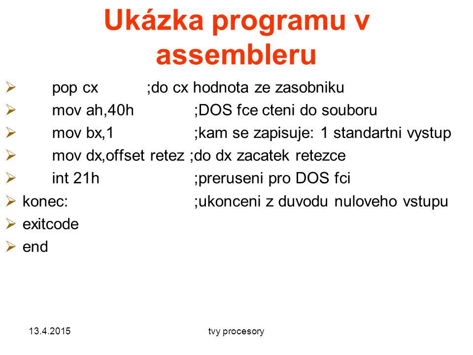 Ukázka programu v assembleru  pop cx;do cx hodnota ze zasobniku  mov ah,40h;DOS fce cteni do souboru  mov bx,1;kam se zapisuje: 1 standartni vystup  mov dx,offset retez ;do dx zacatek retezce  int 21h ;preruseni pro DOS fci  konec:;ukonceni z duvodu nuloveho vstupu  exitcode  end 13.4.2015tvy procesory