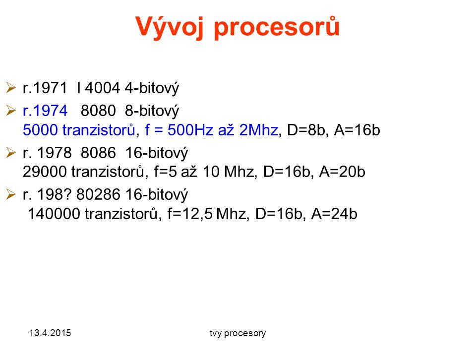Vývoj procesorů  r.1971 I 4004 4-bitový  r.1974 8080 8-bitový 5000 tranzistorů, f = 500Hz až 2Mhz, D=8b, A=16b  r.