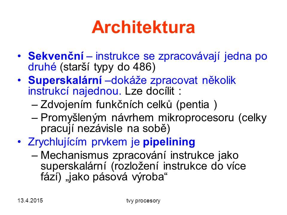 Architektura Sekvenční – instrukce se zpracovávají jedna po druhé (starší typy do 486) Superskalární –dokáže zpracovat několik instrukcí najednou.