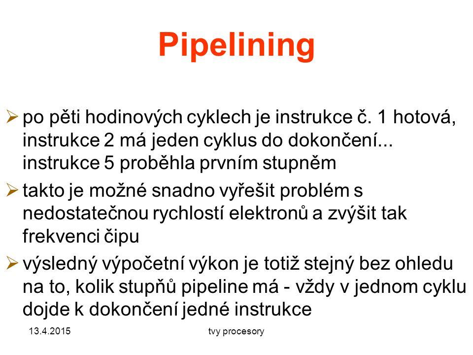 Pipelining  po pěti hodinových cyklech je instrukce č.