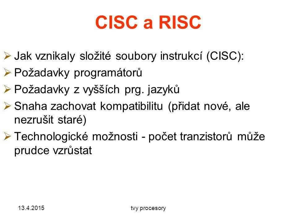 CISC a RISC  Jak vznikaly složité soubory instrukcí (CISC):  Požadavky programátorů  Požadavky z vyšších prg.