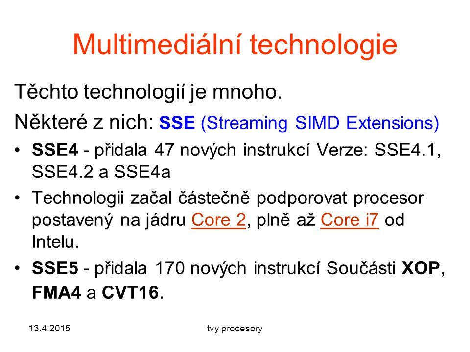 Multimediální technologie Těchto technologií je mnoho.