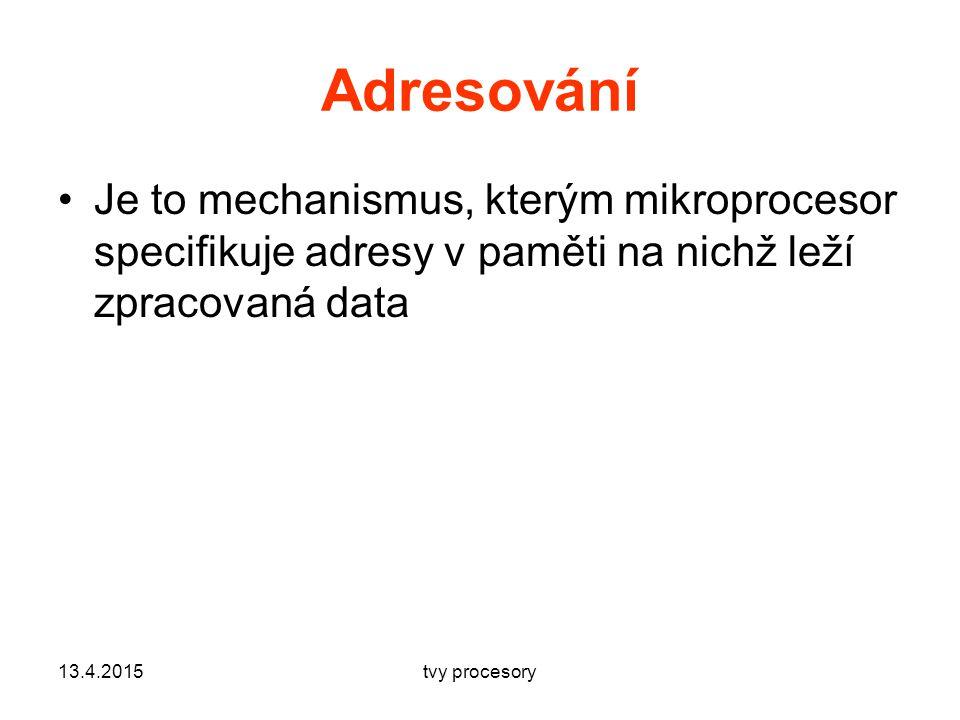 Adresování Je to mechanismus, kterým mikroprocesor specifikuje adresy v paměti na nichž leží zpracovaná data 13.4.2015tvy procesory