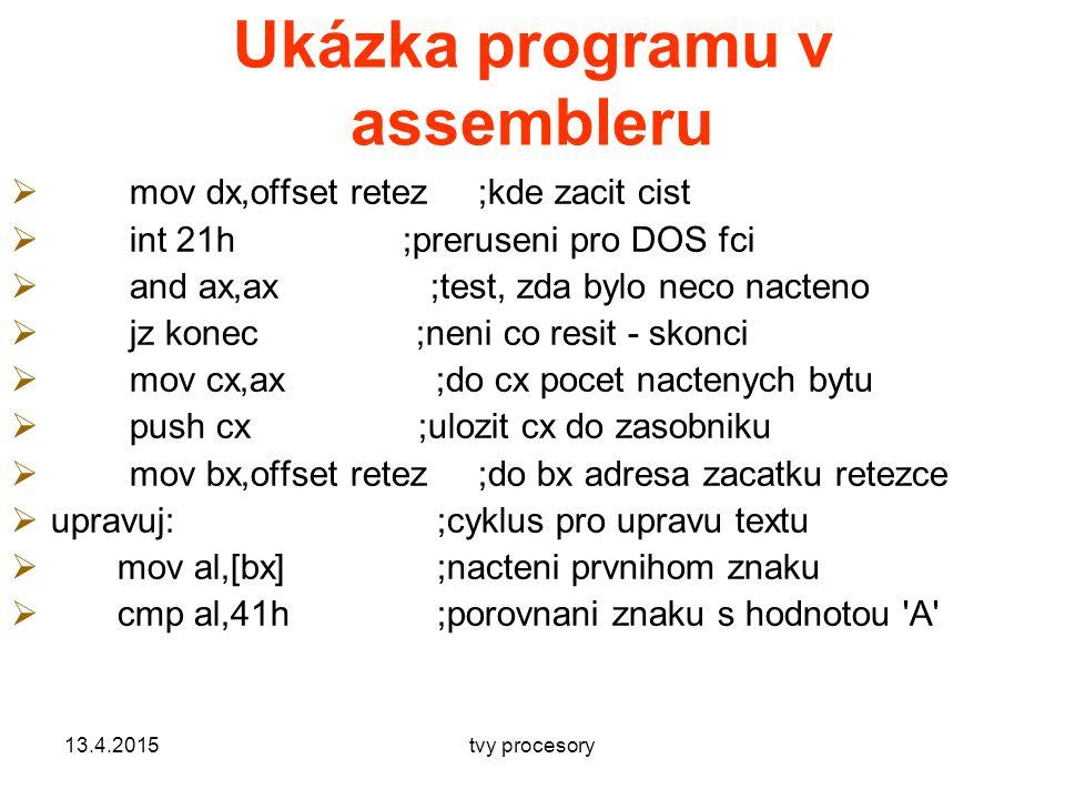 Ukázka programu v assembleru  mov dx,offset retez ;kde zacit cist  int 21h ;preruseni pro DOS fci  and ax,ax ;test, zda bylo neco nacteno  jz konec ;neni co resit - skonci  mov cx,ax ;do cx pocet nactenych bytu  push cx ;ulozit cx do zasobniku  mov bx,offset retez ;do bx adresa zacatku retezce  upravuj:;cyklus pro upravu textu  mov al,[bx];nacteni prvnihom znaku  cmp al,41h;porovnani znaku s hodnotou A 13.4.2015tvy procesory