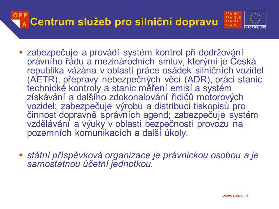 WWW.OPPA.CZ Centrum služeb pro silniční dopravu  zabezpečuje a provádí systém kontrol při dodržování právního řádu a mezinárodních smluv, kterými je Česká republika vázána v oblasti práce osádek silničních vozidel (AETR), přepravy nebezpečných věcí (ADR), práci stanic technické kontroly a stanic měření emisí a systém získávání a dalšího zdokonalování řidičů motorových vozidel; zabezpečuje výrobu a distribuci tiskopisů pro činnost dopravně správních agend; zabezpečuje systém vzdělávání a výuky v oblasti bezpečnosti provozu na pozemních komunikacích a další úkoly.