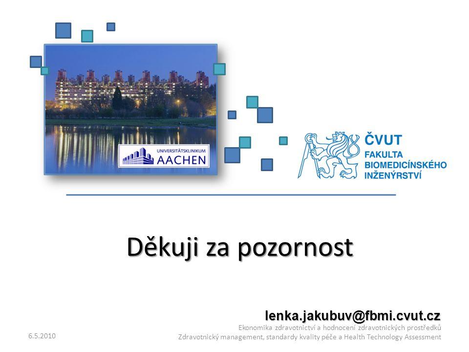 Děkuji za pozornost 6.5.2010 Ekonomika zdravotnictví a hodnocení zdravotnických prostředků Zdravotnický management, standardy kvality péče a Health Technology Assessment lenka.jakubuv@fbmi.cvut.cz