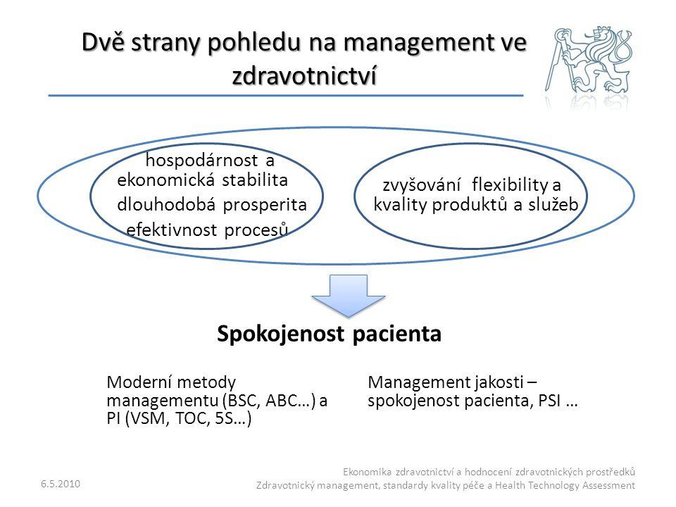 Dvě strany pohledu na management ve zdravotnictví hospodárnost a ekonomická stabilita dlouhodobá prosperita efektivnost procesů zvyšování flexibility