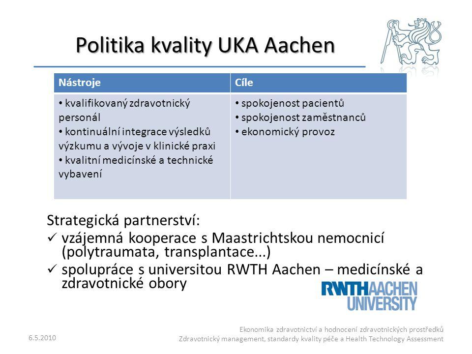 Politika kvality UKA Aachen 6.5.2010 Ekonomika zdravotnictví a hodnocení zdravotnických prostředků Zdravotnický management, standardy kvality péče a H
