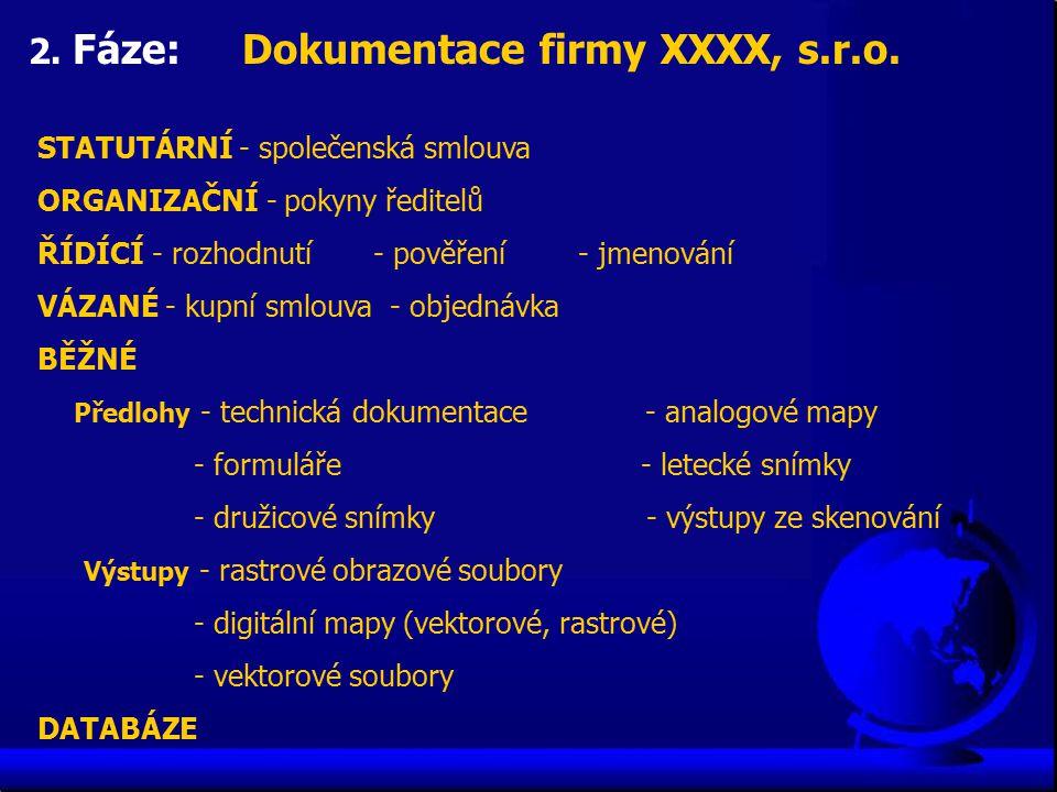 2. Fáze: Dokumentace firmy XXXX, s.r.o. STATUTÁRNÍ - společenská smlouva ORGANIZAČNÍ - pokyny ředitelů ŘÍDÍCÍ - rozhodnutí - pověření - jmenování VÁZA