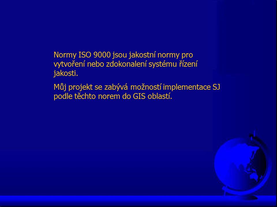 Normy ISO 9000 jsou jakostní normy pro vytvoření nebo zdokonalení systému řízení jakosti. Můj projekt se zabývá možností implementace SJ podle těchto
