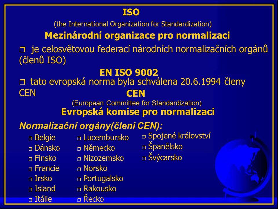 ISO (the International Organization for Standardization) Mezinárodní organizace pro normalizaci r je celosvětovou federací národních normalizačních orgánů (členů ISO) EN ISO 9002  tato evropská norma byla schválena 20.6.1994 členy CEN r Belgie r Dánsko r Finsko r Francie r Irsko r Island r Itálie r Lucembursko r Německo r Nizozemsko r Norsko r Portugalsko r Rakousko r Řecko r Spojené království r Španělsko r Švýcarsko Normalizační orgány(členi CEN): CEN (European Committee for Standardization) Evropská komise pro normalizaci