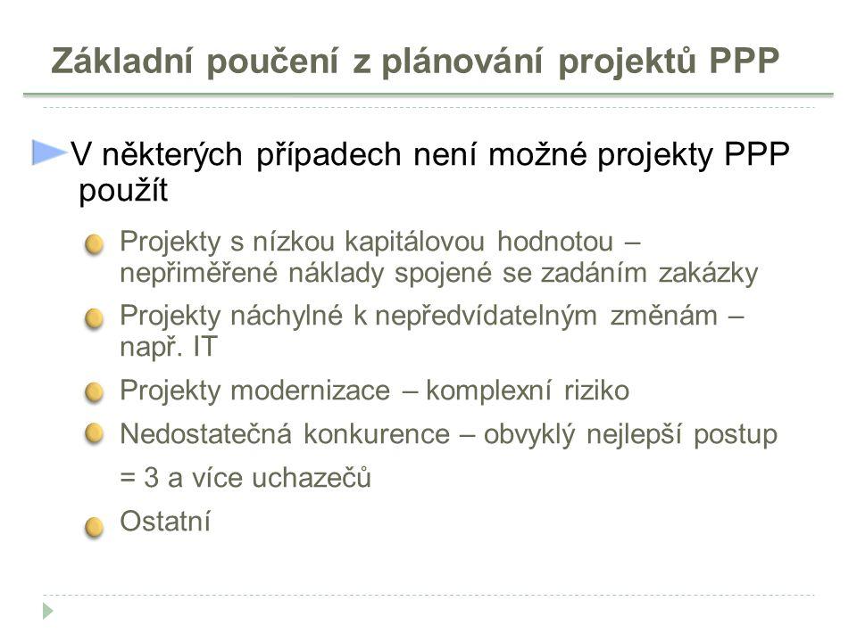 Základní poučení z plánování projektů PPP V některých případech není možné projekty PPP použít Projekty s nízkou kapitálovou hodnotou – nepřiměřené ná