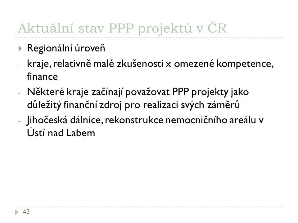 Aktuální stav PPP projektů v ČR 43  Regionální úroveň - kraje, relativně malé zkušenosti x omezené kompetence, finance - Některé kraje začínají považovat PPP projekty jako důležitý finanční zdroj pro realizaci svých záměrů - Jihočeská dálnice, rekonstrukce nemocničního areálu v Ústí nad Labem