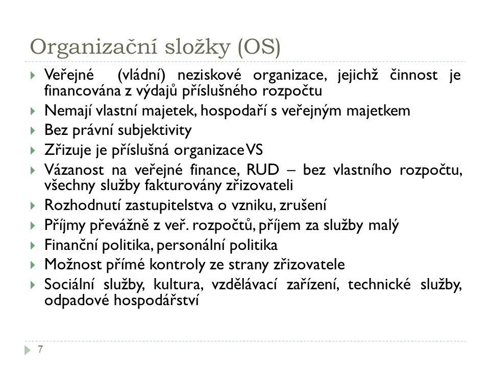 Organizační složky (OS) 7  Veřejné (vládní) neziskové organizace, jejichž činnost je financována z výdajů příslušného rozpočtu  Nemají vlastní majet