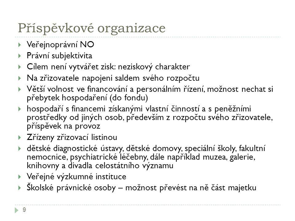Příspěvkové organizace 9  Veřejnoprávní NO  Právní subjektivita  Cílem není vytvářet zisk: neziskový charakter  Na zřizovatele napojeni saldem své