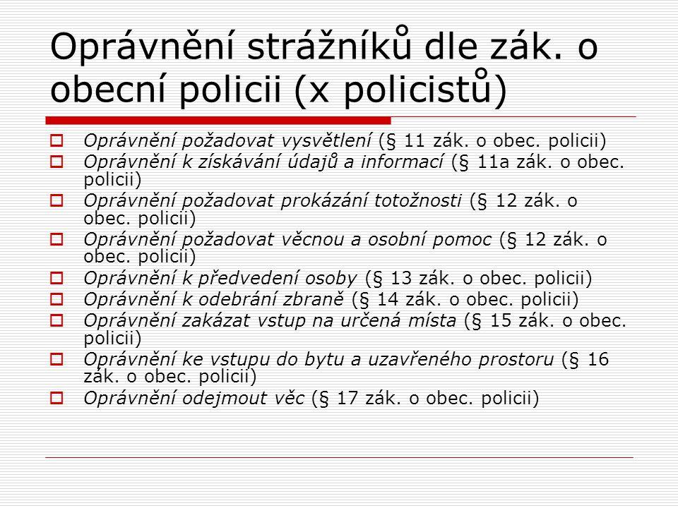 Oprávnění strážníků dle zák. o obecní policii (x policistů)  Oprávnění požadovat vysvětlení (§ 11 zák. o obec. policii)  Oprávnění k získávání údajů