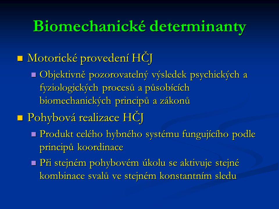 Biomechanické determinanty Motorické provedení HČJ Motorické provedení HČJ Objektivně pozorovatelný výsledek psychických a fyziologických procesů a působících biomechanických principů a zákonů Objektivně pozorovatelný výsledek psychických a fyziologických procesů a působících biomechanických principů a zákonů Pohybová realizace HČJ Pohybová realizace HČJ Produkt celého hybného systému fungujícího podle principů koordinace Produkt celého hybného systému fungujícího podle principů koordinace Při stejném pohybovém úkolu se aktivuje stejné kombinace svalů ve stejném konstantním sledu Při stejném pohybovém úkolu se aktivuje stejné kombinace svalů ve stejném konstantním sledu