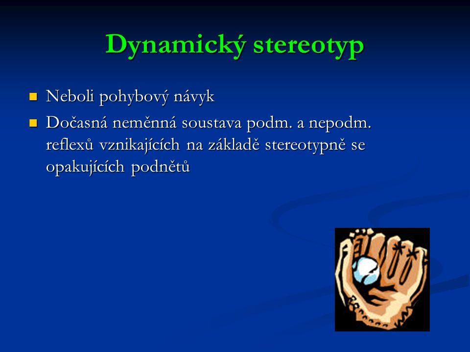 Dynamický stereotyp Neboli pohybový návyk Neboli pohybový návyk Dočasná neměnná soustava podm.