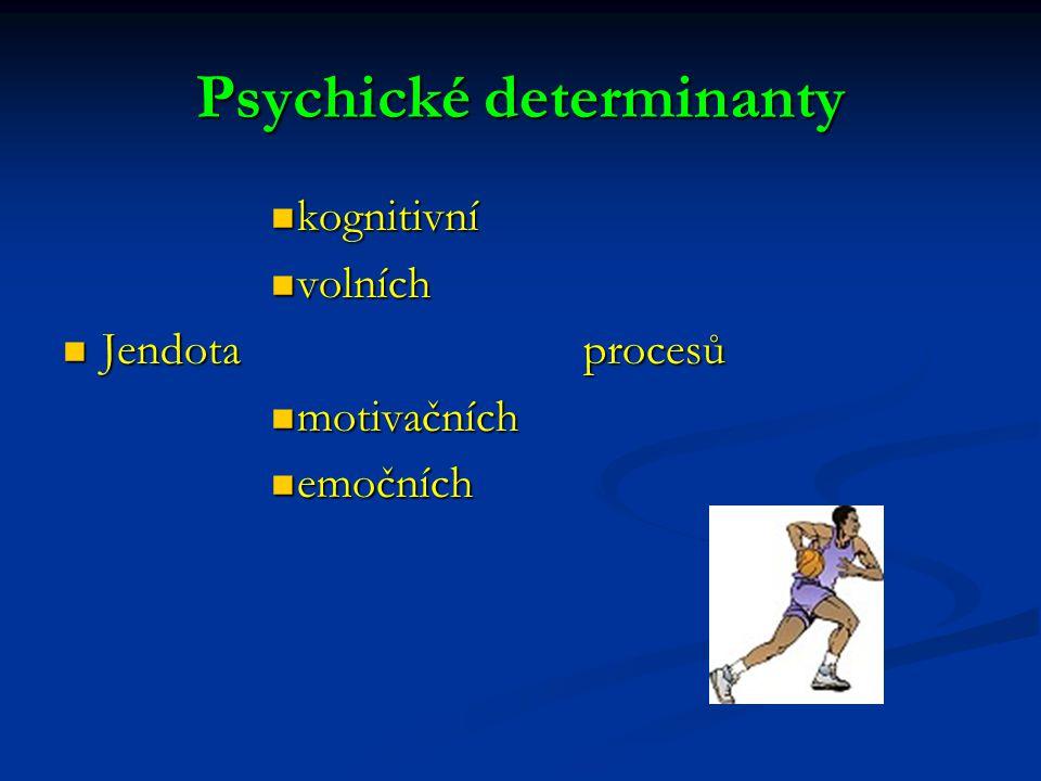 Psychické determinanty kognitivní kognitivní volních volních Jendota procesů Jendota procesů motivačních motivačních emočních emočních