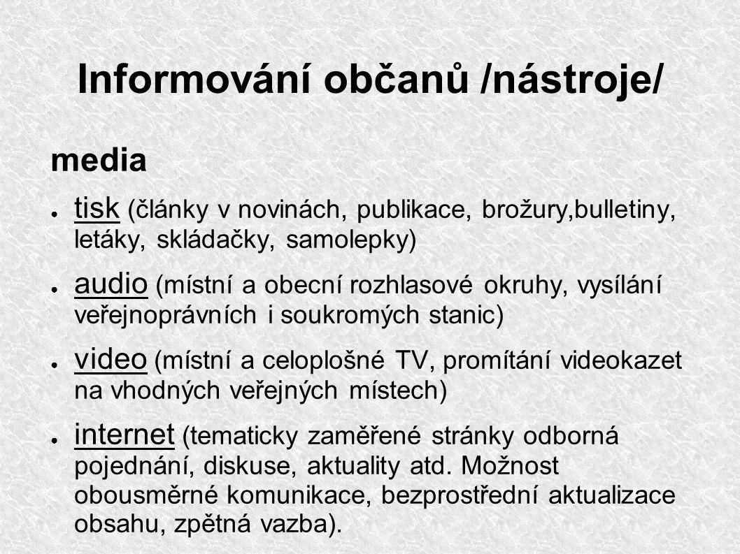 Informování občanů /nástroje/ media ● tisk (články v novinách, publikace, brožury,bulletiny, letáky, skládačky, samolepky) ● audio (místní a obecní ro