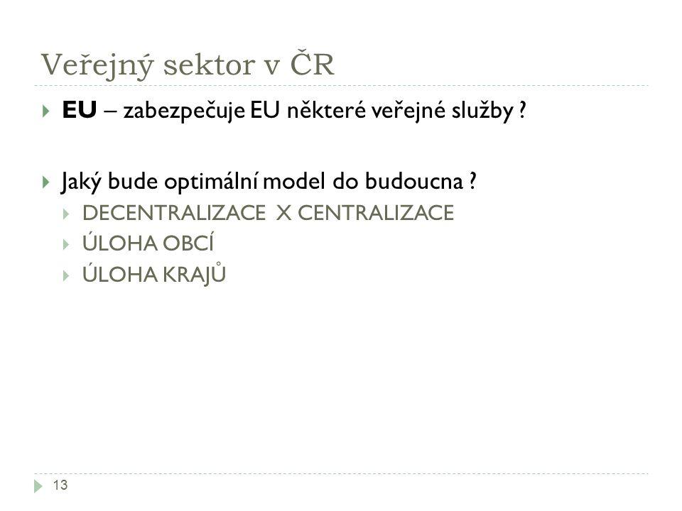 Veřejný sektor v ČR  EU – zabezpečuje EU některé veřejné služby .