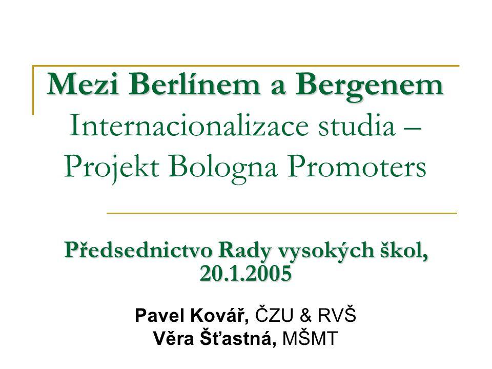 Mezi Berlínem a Bergenem Mezi Berlínem a Bergenem Internacionalizace studia – Projekt Bologna Promoters Předsednictvo Rady vysokých škol, 20.1.2005 Pa