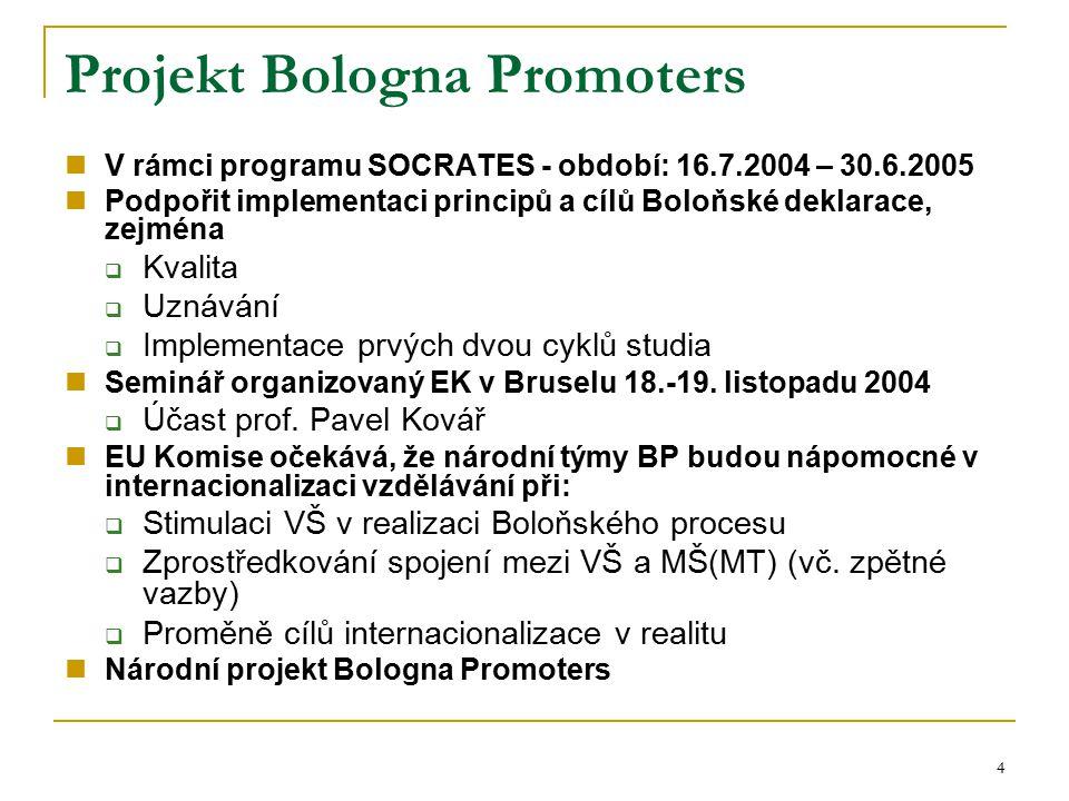 4 Projekt Bologna Promoters V rámci programu SOCRATES - období: 16.7.2004 – 30.6.2005 Podpořit implementaci principů a cílů Boloňské deklarace, zejmén