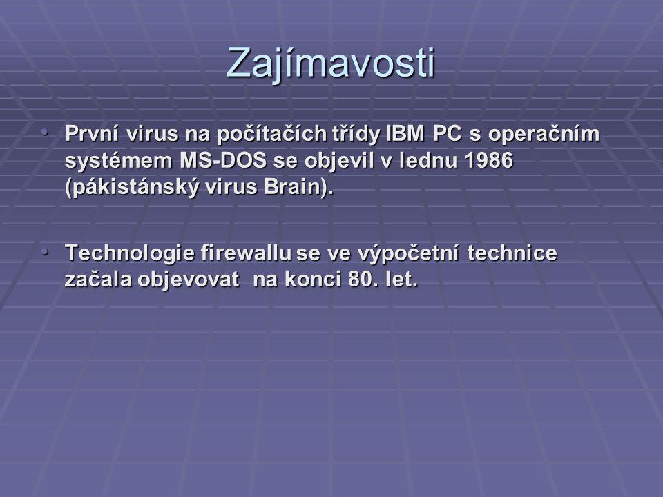 Zajímavosti První virus na počítačích třídy IBM PC s operačním systémem MS-DOS se objevil v lednu 1986 (pákistánský virus Brain). První virus na počít