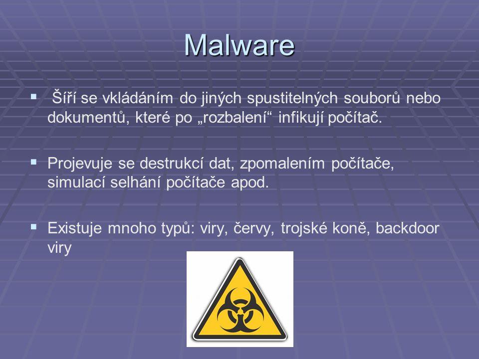 """Malware   Šíří se vkládáním do jiných spustitelných souborů nebo dokumentů, které po """"rozbalení"""" infikují počítač.   Projevuje se destrukcí dat, z"""