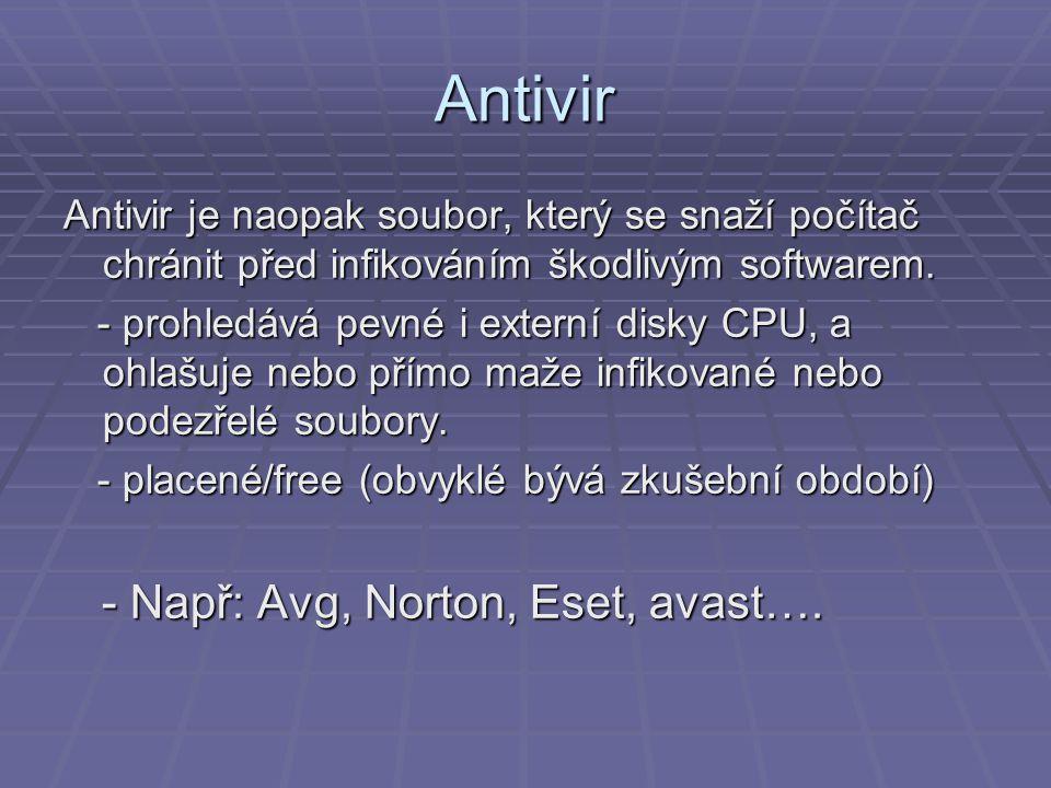 Antivir Antivir je naopak soubor, který se snaží počítač chránit před infikováním škodlivým softwarem. - prohledává pevné i externí disky CPU, a ohlaš