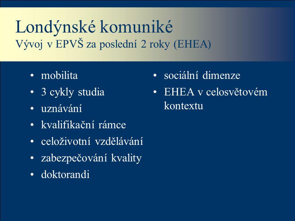 Londýnské komuniké Vývoj v EPVŠ za poslední 2 roky (EHEA) mobilita 3 cykly studia uznávání kvalifikační rámce celoživotní vzdělávání zabezpečování kva