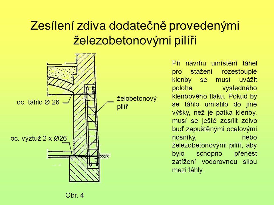 Zesílení zdiva dodatečně provedenými železobetonovými pilíři Obr. 4 oc. táhlo Ø 26 oc. výztuž 2 x Ø26 želobetonový pilíř Při návrhu umístění táhel pro
