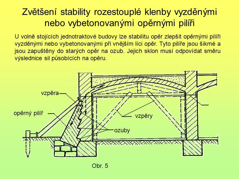 Zvětšení stability rozestouplé klenby vyzděnými nebo vybetonovanými opěrnými pilíři Obr. 5 U volně stojících jednotraktové budovy lze stabilitu opěr z