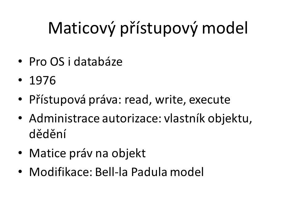 Maticový přístupový model Pro OS i databáze 1976 Přístupová práva: read, write, execute Administrace autorizace: vlastník objektu, dědění Matice práv na objekt Modifikace: Bell-la Padula model