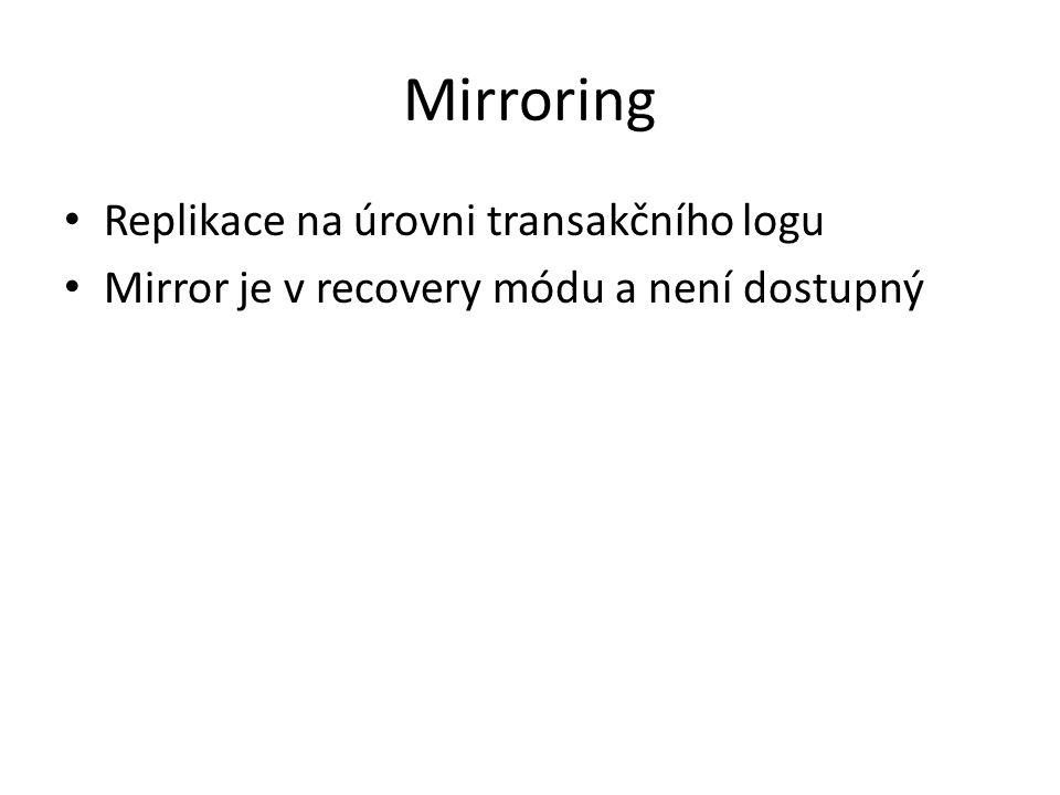 Mirroring Replikace na úrovni transakčního logu Mirror je v recovery módu a není dostupný
