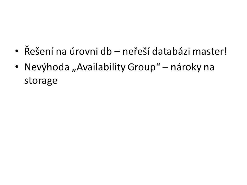 """Řešení na úrovni db – neřeší databázi master! Nevýhoda """"Availability Group"""" – nároky na storage"""