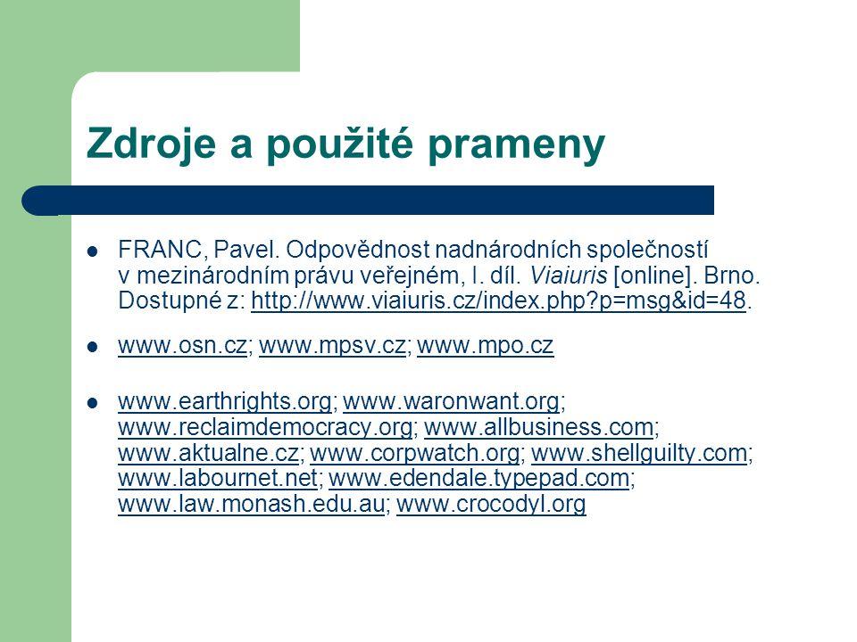 Zdroje a použité prameny FRANC, Pavel.