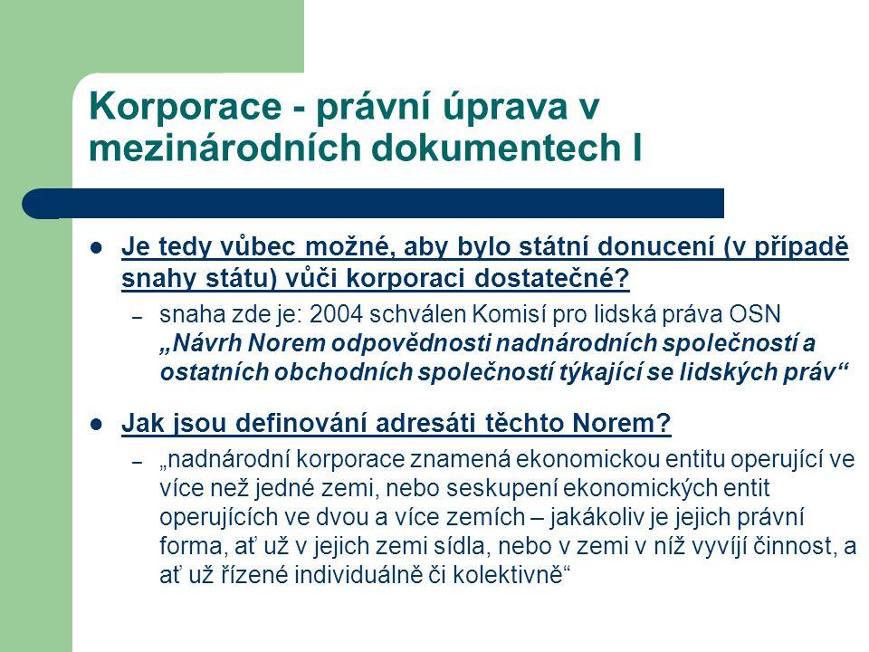 Korporace - právní úprava v mezinárodních dokumentech II Co vlastně tyto Normy obsahují.