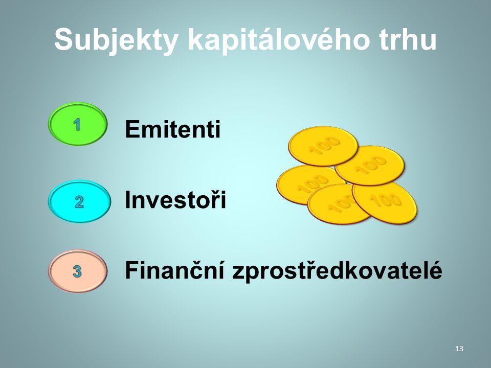 Subjekty kapitálového trhu Emitenti Investoři Finanční zprostředkovatelé 13